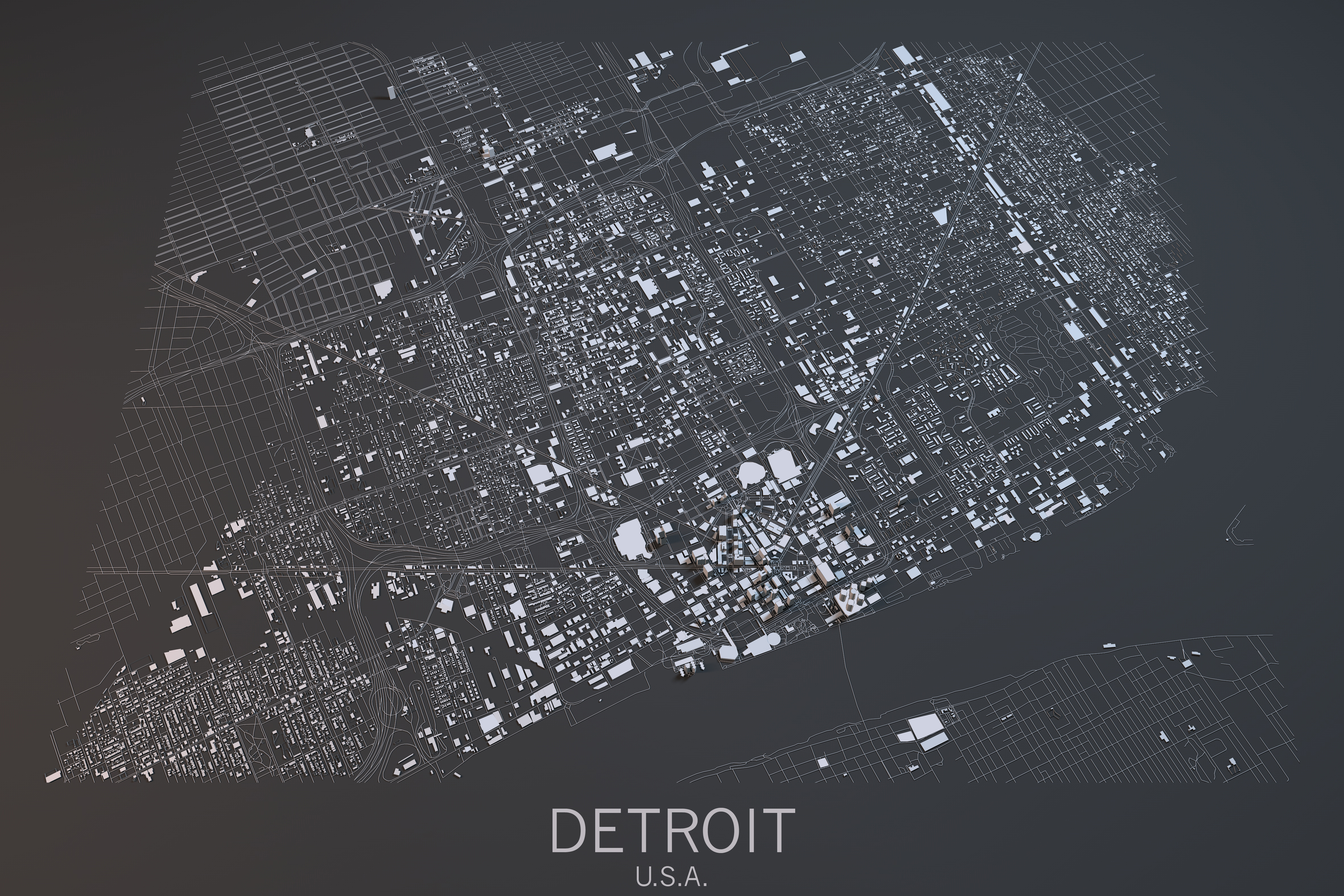 Cartina Detroit, vista satellitare, Stati Uniti